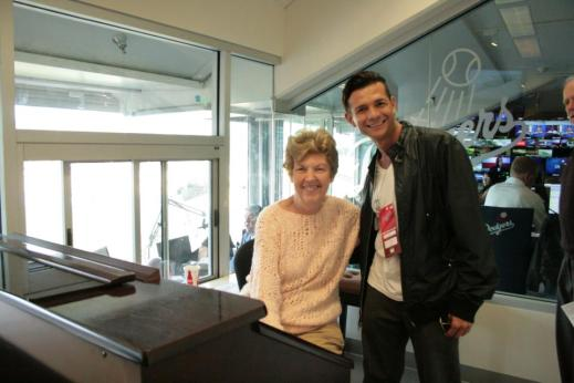 A little prep work with Nancy, organist for the Dodgers.